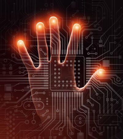 Computer electronics. Open palm touching imaginary screen with glowing motherboard, closeup. Creative collage
