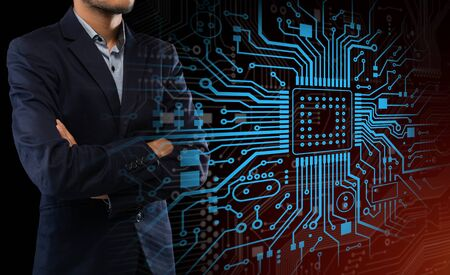 Computing technologies concept. Collage with businessman and glowing electronic circuit board on virtual screen. Copy space
