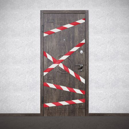 Quarantine Zone Warning Tape, Do Not Cross. Red and white hazard safety stripes across closed entrance door