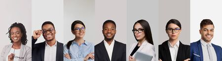 Collage with confident smiling business people of various genders and races, panorama