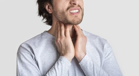 Inflammation in tonsils and glands, cropped, panorama Imagens