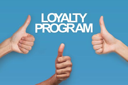 Collage with grateful clients showing thumbs up and words LOYALTY PROGRAM on blue background, close up of hands Stock Photo