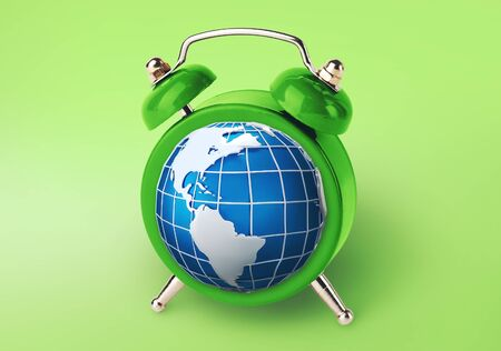 World time concept. Alarm clock with planet Earth in place of hourplate on green background, creative collage Reklamní fotografie
