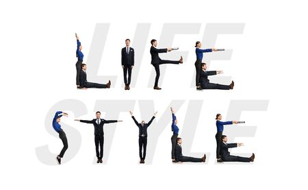 Group of smiling office people forming Life Style phrase isolated over white background, studio wall