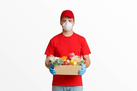 Delivery products from supermarket with courier at home, free space