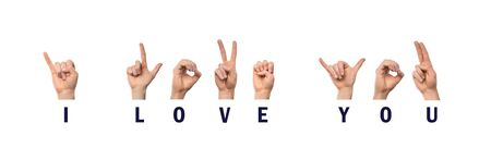 I Love You Phrase, Finger Spelling in American Sign Language ASL, White Background Stock Photo