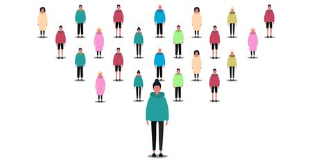 Society concept. Large crowd of people on white background, isolated vector illustration in flat style. Panorama Иллюстрация