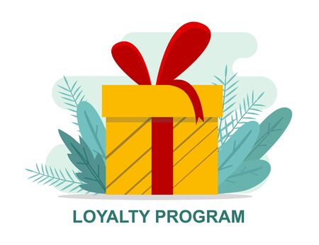 Loyalty program reward concept. Surprise gift box isolated on white, vector illustration in flat style