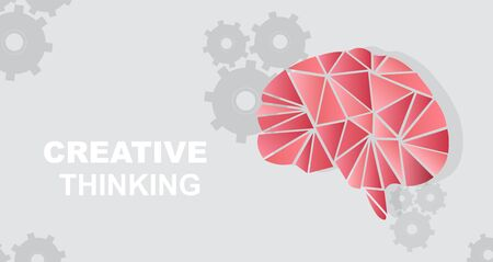 Polygonal human brain, gears and words CREATIVE THINKING on grey background, vector illustration in flat style. Panorama