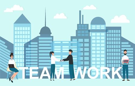 Teamwork concept. Business people cooperating in modern city with skyscrapers, vector illustration in flat style