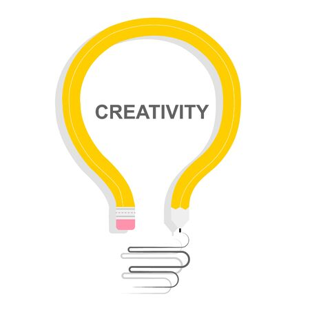 Creativity and innovation concept. Light bulb made of bent pencil on white background, vector illustration in flat style