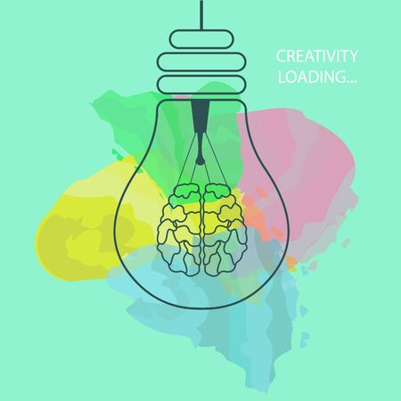 Creative thinking concept. Light bulb with brain as tungsten wire on turquoise background with watercolor splashes, thin line vector illustration