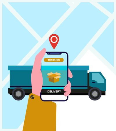 City logistics. Man choosing location on cell phone for getting his order, van on background, vector illustration