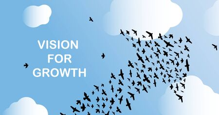 Upward pointing arrow made from birds in sky and words VISION FOR GROWTH, vector illustration. Panorama Ilustracja