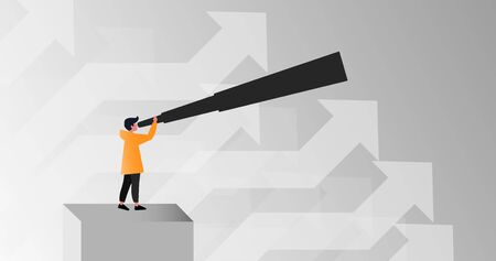 Business growth concept. Person with telescope and arrows pointing up on grey background, vector illustration in flat style. Panorama Ilustracja