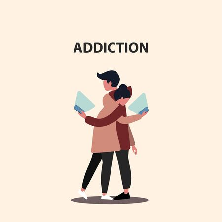 Internet addiction concept. Millennial couple staring into smartphones while hugging, vector illustration in flat style
