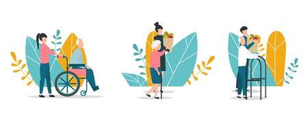 Helping elderly concept. Volunteers aiding senior people on white background, vector illustration set. Flat style. Panorama Ilustrace