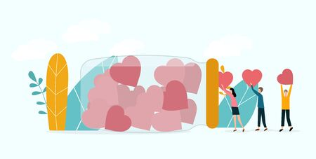 Concept of charity and donations. Volunteers give donations with heart or love put together into a box, panorama, graphic 일러스트