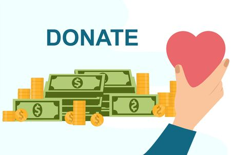 Donation and charity concept. Money and love donation, vector illustration