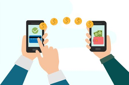 People sending and receiving money wireless with their cell phones. vector graphic Ilustracja