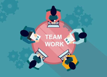 Teamwork concept. Colleagues conducting business meeting at conference table, top view. Vector illustration in flat style