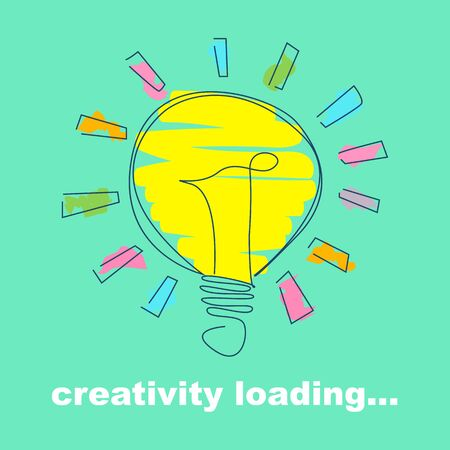 Creativity concept. Hand drawn shining light bulb on turquoise background, doodle vector illustration Ilustracja
