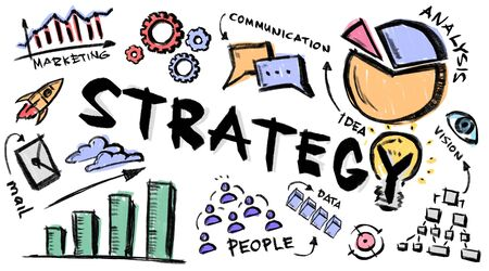 Creative illustration with business strategy notions, graphs and drawings on white background, panorama