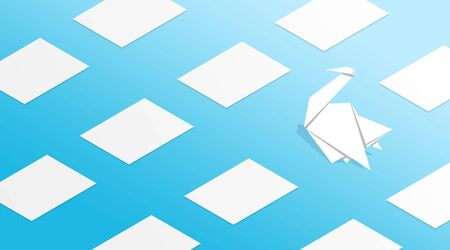 Uniqueness and individuality concept. Origami crane standing out among blank paper sheets on blue background, illustration. Panorama Stock Photo
