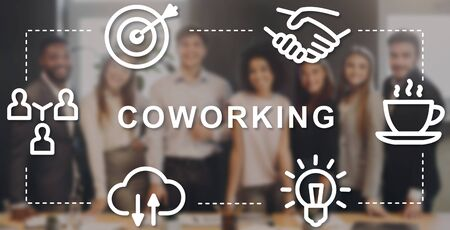 Successful business team in office, creative collage with word COWORKING and icons. Panorama Zdjęcie Seryjne