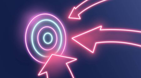 Reaching business goals concept. Neon arrows hitting target on dark background, creative illustration. Panorama