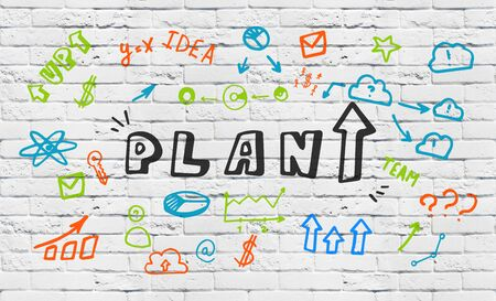 Strategy Concept. The word Plan with arrow up written on white brick background with colorful illustrations and drawings Zdjęcie Seryjne