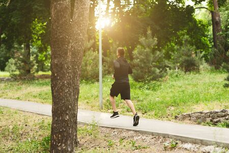 Outdoor Training Concept. Rear view of muscular sportsman running in the forest, copy space, sunlight Imagens