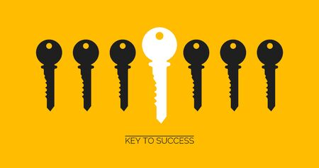 Success and uniqueness concept. White key standing out among others on yellow background, creative vector illustration. Panorama Vetores