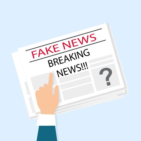 Hand pointing at newspaper with fake breaking news against blue background, vector illustration in flat style