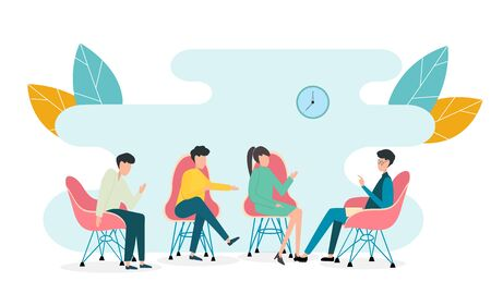 Exchange of opinions concept. Group of people participating in TV talk show on white background, vector illustration in flat style