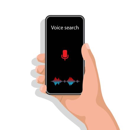 Female Hand Using Voice Search Holding Smartphone Browsing Internet On White Background. vector Illustration Vectores