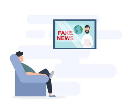 Man watching fake news on TV at home, white background. Vector illustration in flat style Vettoriali