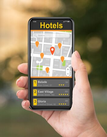 Tourist using map in cellphone to navigate and find hotel locations in big city, creative collage