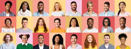 Emotional Portraits Collage. Set Of Various Multiethnic Millennial People Faces Expressing Happiness On Different Pink Backgrounds. Panorama Stock Photo