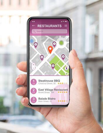 Female traveller using GPS navigation app to find good restaurants on smartphone screen on city street, collage