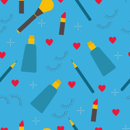 Makeup and skin care products on blue background, vector seamless pattern in flat style. Glamour fabric or wallpaper design 일러스트