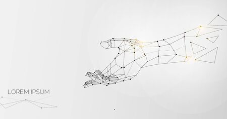 Outstretched hand made of lines, dots and triangles over grey background, illustration, panorama with free space