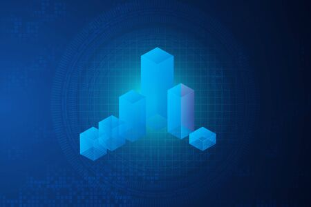 Holographic Image Of Rising 3d Columns Symbolizing Financial Growth Over Blue Background. Innovative Business Technology Concept.