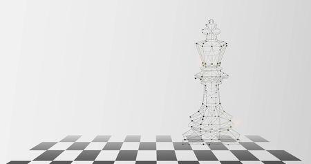 Image graphique de la pièce du roi sur l'échiquier comme symbole d'autorité, fond gris, espace de copie Vecteurs