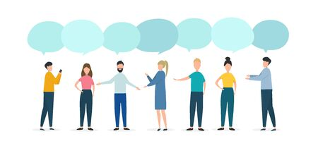 Opinion exchange concept. People with speech bubbles debating problem on white background, space for text. Isolated vector illustration in flat style Vektorgrafik