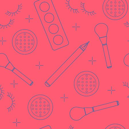 Different beauty products on coral background, vector seamless pattern with thin line icons. Fashion wrapping paper, textile design idea 向量圖像