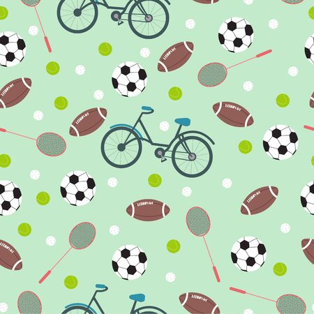 Different sports inventory on turquoise background, vector seamless pattern in flat style. Creative textile or wallpaper design idea