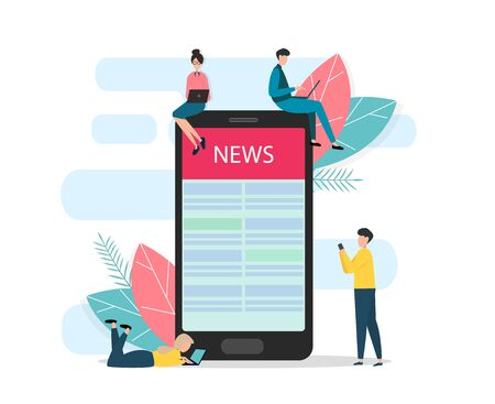 People with gadgets surrounding mobile phone with news article on screen, white background. Vector illustration in flat style