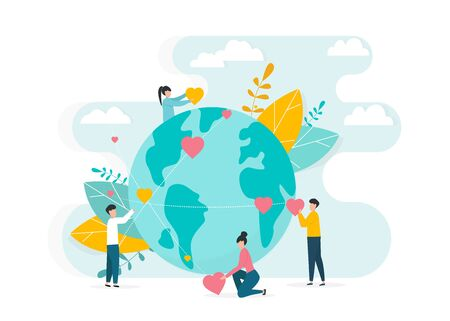 Worldwide charity work concept. People surrounding planet Earth with love and care on white background, vector illustration in flat style
