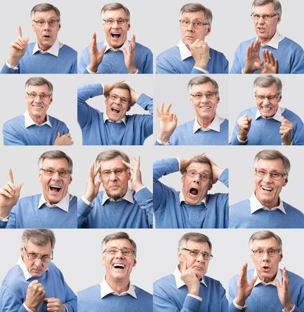 Set Of Senior Mans Emotional Portraits Gesturing And Expressing Different Emotions Posing Over Gray Studio Background. Collage